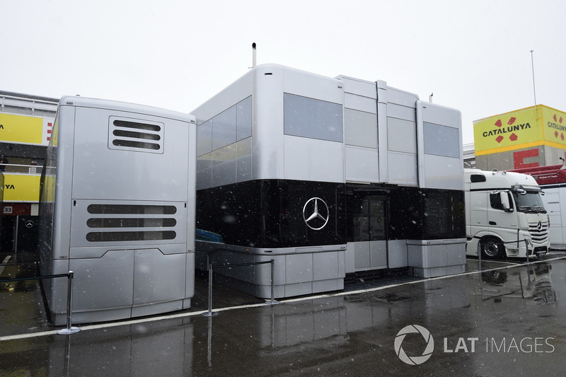 Mercedes AMG F1 trucks as snow stops testing on day three