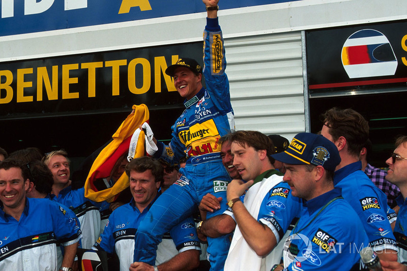 Michael Schumacher, Benetton celebrates his world title with the Benetton team