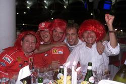 Jean Todt, Michael Schumacher, Rubens Barrichello, Luca Badoer, Luca di Montezemolo, Ferrari, celebrate the Ferrari world championship