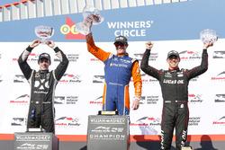 Winner Scott Dixon, Chip Ganassi Racing Honda, second place Simon Pagenaud, Team Penske Chevrolet, third place Robert Wickens, Schmidt Peterson Motorsports Honda celebrate on the podium