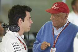 Toto Wolff, Executive Director (Business), Mercedes AMG, and Niki Lauda, Non-Executive Chairman, Mer