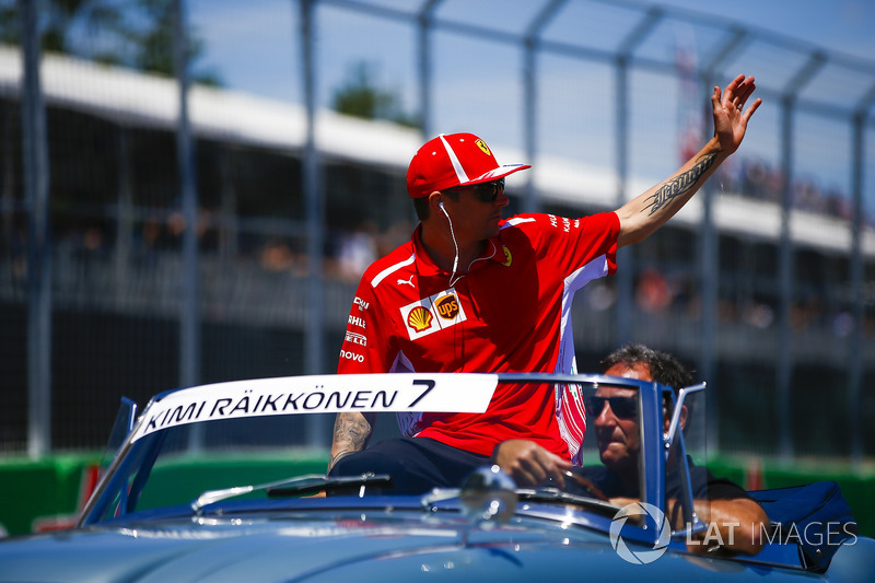 Kimi Raikkonen, Ferrari, on the drivers' parade