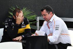 Cyril Abiteboul, directeur général Renault Sport F1 et Éric Boullier, directeur de la compétition de McLaren
