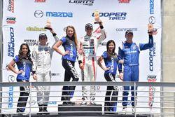 Podium: race winner Santiago Urrutia, Schmidt Peterson Motorsports, second place Ed Jones, Carlin, third place Dean Stoneman, Andretti Autosport