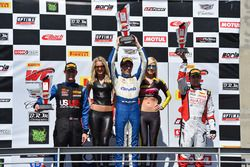 Podium GT Cup: winner Aled Udell, Global Motorsports Group, second place Corey Fergus, Motorsports Promotions, third place Sloan Urry, TruSpeed Autosport