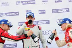 Podium: winner Edoardo Mortara, Phoenix Racing Asia, second place Alessio Picariello, MGT Team, third place Rahel Frey, Castrol Racing Team