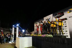 Prototype Challenge Podium: first place #52 PR1 Mathiasen Motorsports ORECA FLM09: Robert Alon, Tom Kimber-Smith, Jose Gutierrez, second place #38 Performance Tech Motorsports ORECA FLM09: James French, Kyle Marcelli, Kenton Koch, third place #85 JDC/Miller Motorsports ORECA FLM09: Misha Goikhberg, Chris Miller, Stephen Simpson