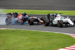 Felipe Massa, Williams FW38 en Carlos Sainz Jr, Scuderia Toro Rosso STR11