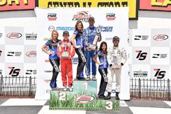 Podium: race winner Felix Serralles, Carlin, second place Zach Veach, Belardi Auto Racing, third place Ed Jones, Carlin