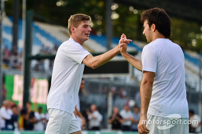 (L to R): Max Verstappen, Red Bull Racing with Sergio Perez, Sahara Force India F1 at the charity 5-a-side football match