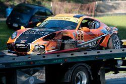 #56 Murillo Racing Porsche Cayman: Jeff Mosing, Eric Foss after a crash