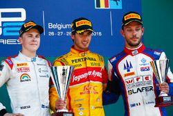 Race winner Antonio Giovinazzi, PREMA Racing, second place Gustav Malja, Rapax, third place Luca Ghiotto, Trident