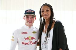 Max Verstappen, Red Bull Racing with 2016 Olympic heptathlon gold medallist Nafi Thiam