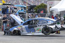 The crashed car of Dale Earnhardt Jr., Hendrick Motorsports Chevrolet