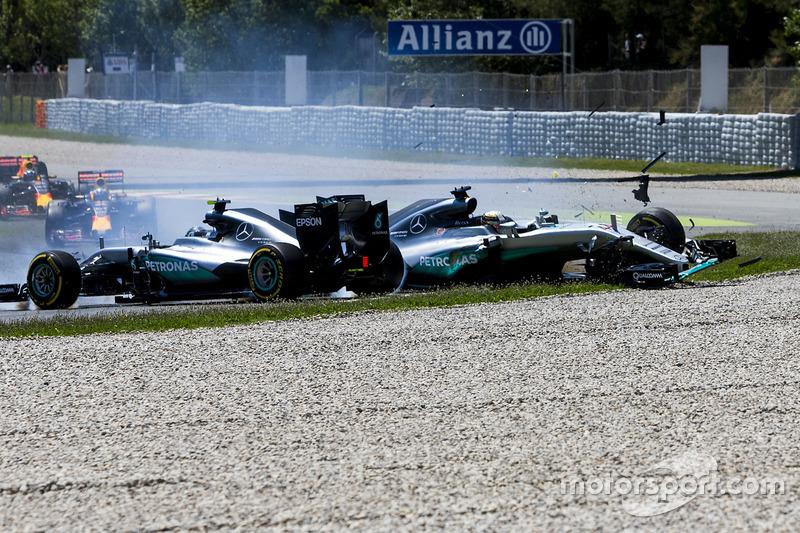Nico Rosberg y Lewis Hamilton en Barcelona 2016
