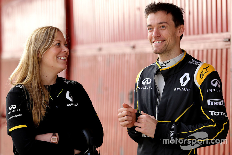 Jolyon Palmer, Renault Sport F1 Team with Aurelie Donzelot, Renault Sport F1 Team