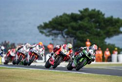 Jonathan Rea, Kawasaki Racing Team; Chaz Davies, Aruba.it Racing - Ducati Team und Michael van der M