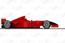 La Ferrari F2001 pilotée par Michael Schumacher à Monza en 2001<br/> Reproduction interdite, exclusi