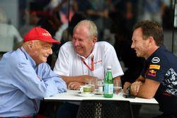 Неисполнительный директор Mercedes Ники Лауда, руководитель Red Bull Racing Кристиан Хорнер и спортивный консультант Red Bull Хельмут Марко