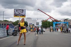 Grid girl of Ferdinand Habsburg, Carlin, Dallara F317 - Volkswagen