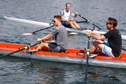 Stoffel Vandoorne, McLaren, Tom Clarkson row as Matt Morris, Engineering Director, McLaren, looks on