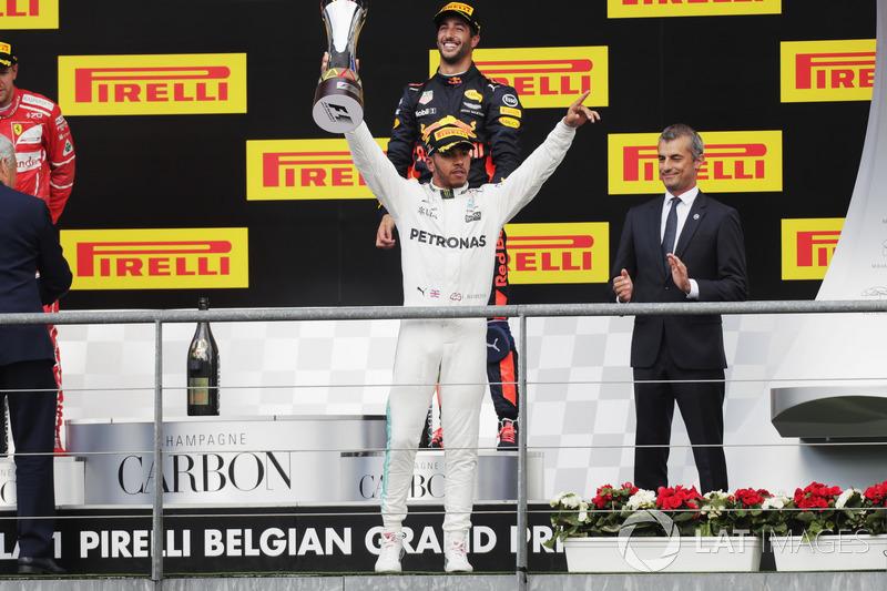 Podium: race winer Lewis Hamilton, Mercedes AMG F1, third place Daniel Ricciardo, Red Bull Racing, second place Sebastian Vettel, Ferrari