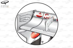 Ferrari F2012 rear wing close up, to show DRS mechanism