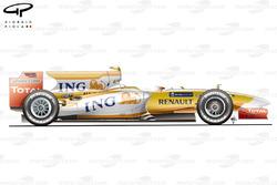 Vue latérale de la Renault R29, aux tests de Jerez