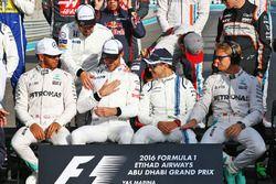 Lewis Hamilton, Mercedes AMG F1; Fernando Alonso, McLaren; Jenson Button, McLaren; Felipe Massa, Wil