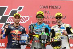 Podium: second place Miguel Oliveira, Red Bull KTM Ajo, race winner Franco Morbidelli, Marc VDS, thi