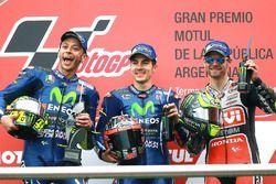 Podio: Valentino Rossi, Yamaha Factory Racing, el ganador Maverick Viñales, Yamaha Factory Racing, C
