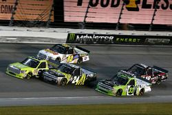 Grant Enfinger, ThorSport Racing Toyota, Justin Haley, GMS Racing Chevrolet and Regan Smith, Ricky Benton Racing Ford