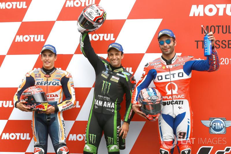 Top3 qualifiche: Marc Marquez, Repsol Honda Team, il poleman Johann Zarco, Monster Yamaha Tech 3, Danilo Petrucci, Pramac Racing