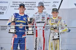Podium: race winner Oliver Askew, Cape Motorsports, second place Rinus van Kalmthout, Pabst Racing, third place Kaylen Frederick, Team Pelfrey