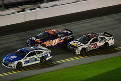 Dale Earnhardt Jr., Hendrick Motorsports Chevrolet, leads Denny Hamlin, Joe Gibbs Racing Toyota, and Ryan Newman, Richard Childress Racing Chevrolet