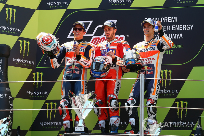 Podium: second placde Marc Marquez, Repsol Honda Team, Race winner Andrea Dovizioso, Ducati Team, third placeDani Pedrosa, Repsol Honda Team