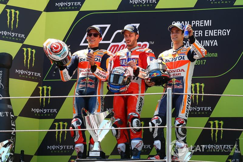Podio: 1º Andrea Dovizioso, 2º Marc Márquez, 3º Dani Pedrosa