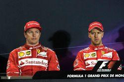 Kimi Raikkonen, Ferrari ve yarış galibi Sebastian Vettel, Ferrari, basın toplantısı