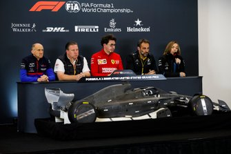 Franz Tost, Team Principal, Toro Rosso, Zak Brown, Executive Director, McLaren, Mattia Binotto, Team Principal Ferrari, Cyril Abiteboul, Managing Director, Renault F1 Team and Claire Williams, Deputy Team Principal, Williams Racing, sit behind a model of a 2021 Formula 1 car