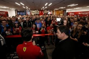 Charles Leclerc, Ferrari talks to the crowd before the opening of Autosport International 2020