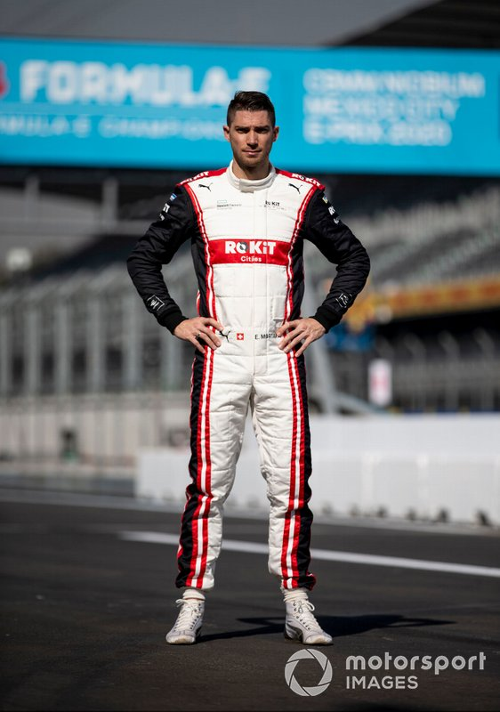 Edoardo Mortara, Venturi, EQ Silver Arrow 01 poses for a photograph in his racing overalls.