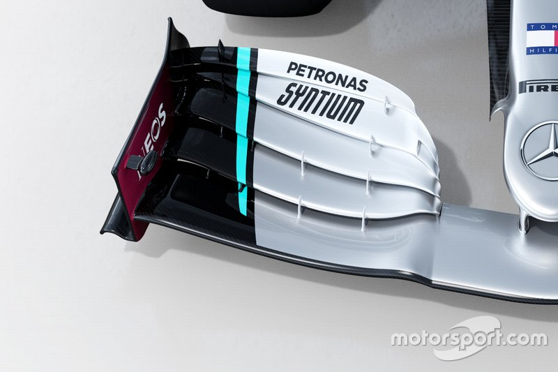 Mercedes AMG F1 W11 voorvleugel detail