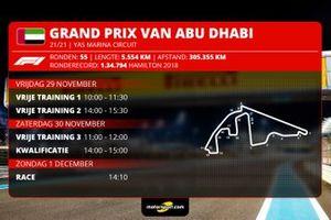 Tijdschema Formule 1 Grand Prix van Abu Dhabi