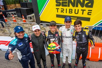 Emerson Fittipaldi, Filipe Massa, Pierto Fittipaldi, Esteban Gutiérrez, Caio Collet, at the Festival Senna Tribute