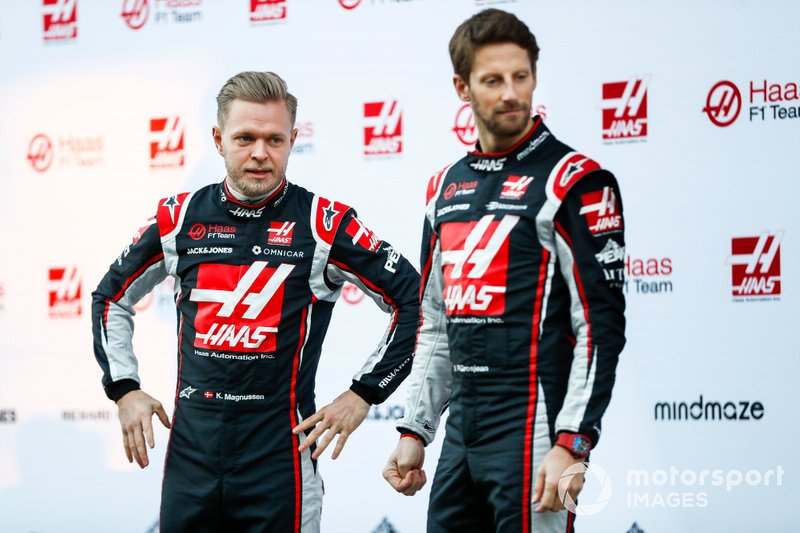 Romain Grosjean, Haas F1 Team and Kevin Magnussen, Haas F1 Team at the unveiling of the Haas VF-20