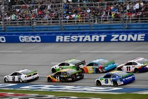 Brad Keselowski, Team Penske, Ford Mustang Miller Lite, Clint Bowyer, Stewart-Haas Racing, Ford Mustang Rush / Mobil Delvac 1, Kyle Busch, Joe Gibbs Racing, Toyota Camry M&M's Hazelnut, Chase Elliott, Hendrick Motorsports, Chevrolet Camaro NAPA Night Vision