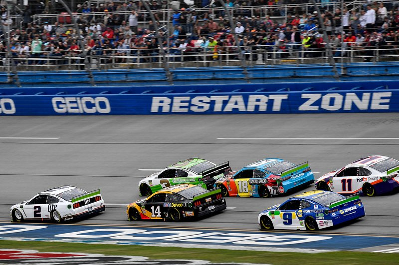 Brad Keselowski, Team Penske, Ford Mustang Miller Lite, Clint Bowyer, Stewart-Haas Racing, Ford Mustang Rush / Mobil Delvac 1, Kyle Busch, Joe Gibbs Racing, Toyota Camry M&M's Hazelnut, and Chase Elliott, Hendrick Motorsports, Chevrolet Camaro NAPA Night Vision