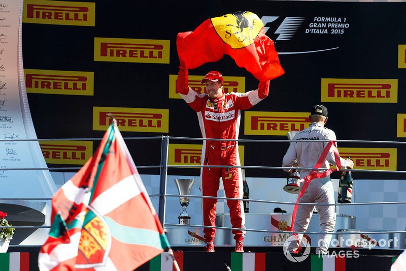 Podio: secondo classificato Sebastian Vettel, Ferrari, al GP d'Italia del 2015