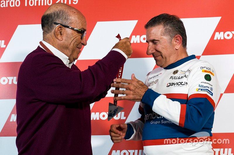 Jorge Martinez and Dorna Sports CEO Carmelo Ezpeleta