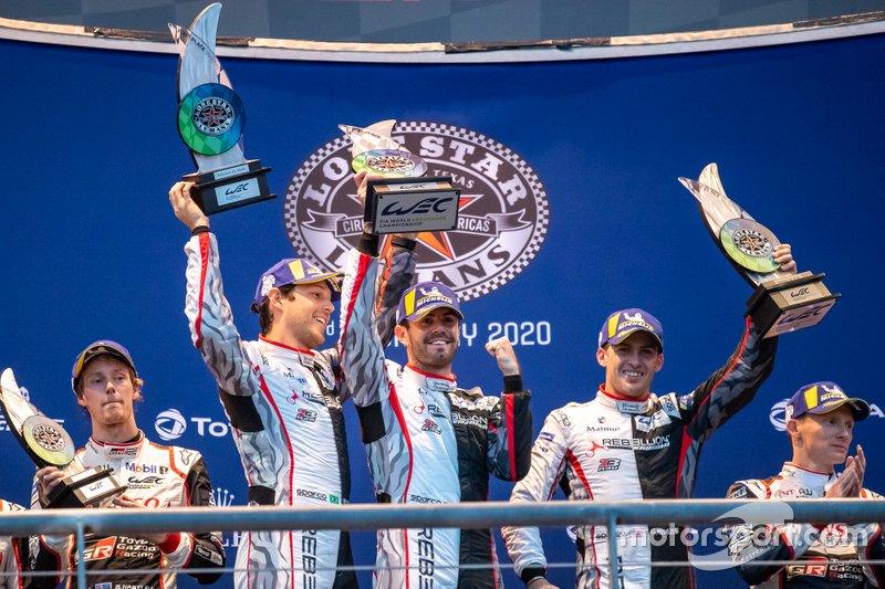 #1 Rebellion Racing - Rebellion R13 - Gibson: Bruno Senna, Gustavo Menezes, Norman Nato Podium